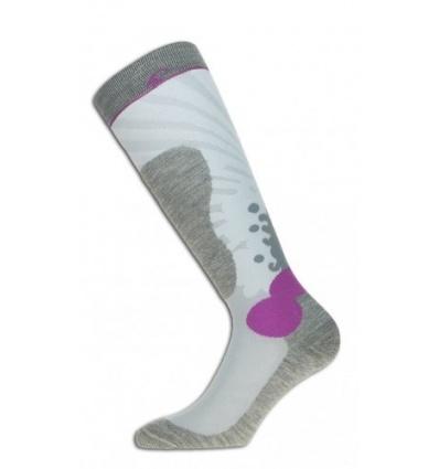 Chaussettes de ski Femme MAKALU Fuji Gris / Blanc / Rose