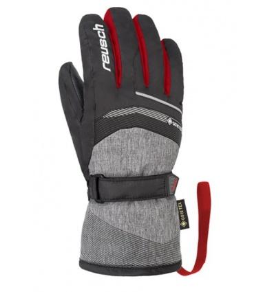 Gants de ski junior REUSCH Bolt GTX - Black/Melange/Fire Red