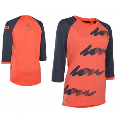 Maillot VTT Femme ION Tee LS 3/4 Scrub Amp - Hot Coral