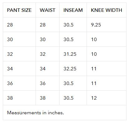 Charte taille pantalon TLD