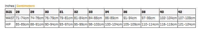 Guide de taille pour short DAKINE